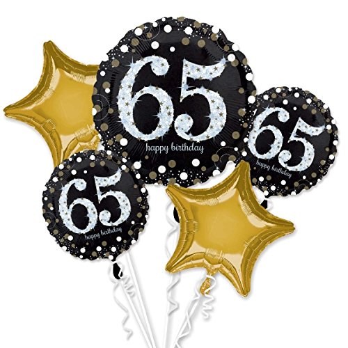 Amscan International 8.165.594,5cm Funkelnder Zum 65. Geburtstag Folie Ballon Bouquet