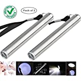 DOCOSS - Pack of 2-Aluminum Alloy Mini Portable Pen Light Torch penlight for Camping,Doctors,Dentist,Travelling LED Flashlight Pocket Medical Torch Light with Convex CREE Led
