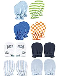 ece2b878e6 Luvable Friends Cotton Scratch Mittens, Train and Geometrics 8pk, 0-6 Months