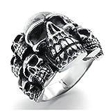 KnSam Uomo Anello Acciaio Inox Anello Gotico Skull Grave Argento nero Dimensioni 22