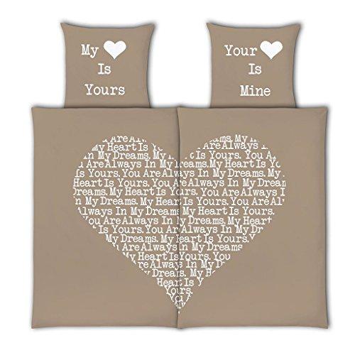 *VS Home Partner-Bettwäsche Heart Herz Valentinstag / 100% Baumwolle / 4-teilig / 135cm x 200 cm / in verschiedenen Farben erhältlich, Webart:Renforcé, Farbe:taupe, Größe:135 cm x 200 cm*