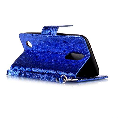 FESELE étui en Cuir pour LG K4 2017,Coque Housse Etui pour LG K4 2017,PU étui en Cuir Avec un Design Modèle Laser Papillon,Style de Style Fermeture Magnétique Portefeuille en Cuir PU Élégant Housse de Bleu