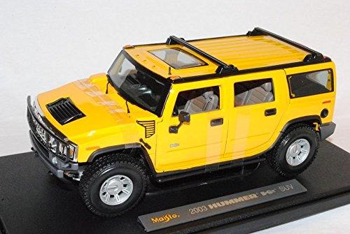 hummer-h2-suv-gelb-2003-2010-1-18-maisto-modell-auto-mit-individiuellem-wunschkennzeichen