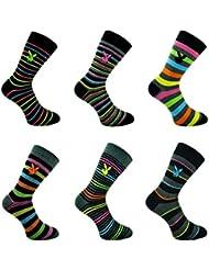 Playboy Lot de 3 paires de chaussettes pour homme Coton majoritaire Motif rayures de couleurs vives Taille 39-45