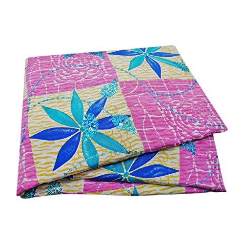 PEEGLI Frauen Jahrgang Bestickt Sari Rosa Seide Mischung DIY Recycelten Vorhang Drapieren Stoff Indischen Saree (Seide Sari Rosa)