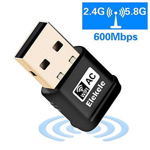 Elekele® USB Wlan Adapter, USB Wifi Adapter 2.4GHz/5GHz Dual Band 600Mbit/s Wireless USB Adapter Nano für Windows 10/8.1/8/7/XP/Vista/MAC OS/Linux 2.6