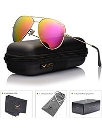 LUENX Hombre Mujer gafas de sol Aviador polarizado con estuche - UV 400 Espejo de Protección 60mm