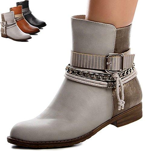 topschuhe24 594 Damen Boots Stiefeletten Camel