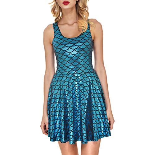 Fishscale Kleid, Damen Rock Plissee Print Mermaid Scales Rock Mädchen Rock, Hellblau XL
