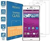 [2 Pièces] PREMYO verre trempé Sony Xperia Z3. Film protection Xperia Z3 avec un degré de dureté de 9H et des angles arrondis 2,5D. Protection écran Xperia Z3