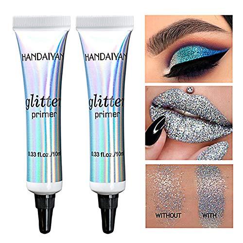 2 Pcs Smudge-Eyeshadow Glitter Primer Longue Durée Des Yeux Maquillage Primer multifonctionnel pour Les Yeux, Les Lèvres, Maquillage Du Visage