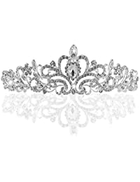Diadema Corona Tiara Flor Cristal Diamante De Imitacion Para Fiesta Boda Novia