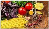 Wallario Herdabdeckplatte/Spritzschutz aus Glas, 3-teilig, 90x52cm, für Ceran- und Induktionsherde, Italienisches Menü mit Spaghetti, Tomaten, Basilikum und Gewürzen