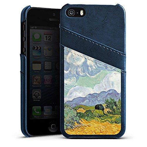 Apple iPhone 6 Housse Étui Silicone Coque Protection Vincent van Gogh Champ de blé avec cyprès Art Étui en cuir bleu marine