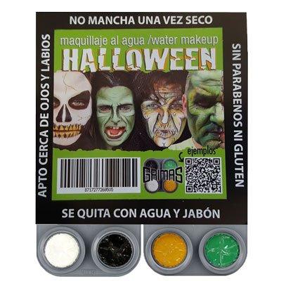 Kit Maquillaje Halloween Bruja Agua Fantasia Grimas