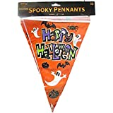 VALUE TWIN PACK Spooky Pennants Happy Halloween Bunting Indoor/Outdoor Party Decoration Banner Total 22 Flags 24 Foot by HHBx2