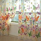 Mariposa floral cortinas Visillos gasa de Tulle de la