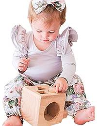 JYC Conjunto de Ropa para Niñas,Conjuntos para niñas Bebe,Recién Nacido Infantil Bebé Chicas Mameluco MonoTops+Floral Pantalones 3 PCS Trajes Conjunto