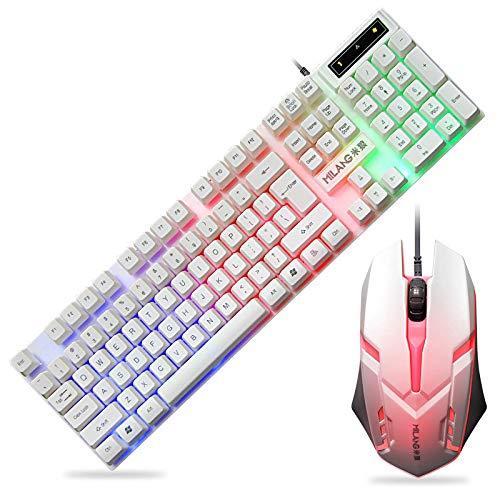 TL Tastatur und Maus-Kombination, 19-Schlüssel Nicht widersprechende Stahlplatte Hintergrundbeleuchtung buntes Spiel Maus und Tastatur-Set, für Spiele Büro