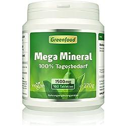 Mega Mineral, 1500 mg, 180 Tabletten, vegan - 100% Tagesbedarf Mineralstoffe & Spurenelemente, Ca und Mg im optimalen Verhältnis 2:1