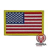 Cobra Tactical Solutions Parche Bordado Parche Militar con Cinta adherente para la Bandera de Airsoft/Paintball USA para Ropa de Mochila táctica.