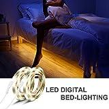 IWILCS Bett LED Streifen, 2*120CM 12V DC Auto Ein/Aus Bewegungsmelder LED Leiste RGB Wasserdicht Cuttable LED Lichtleiste Streifenlicht Stimmungslicht mit 72 LEDs, Warmweiß