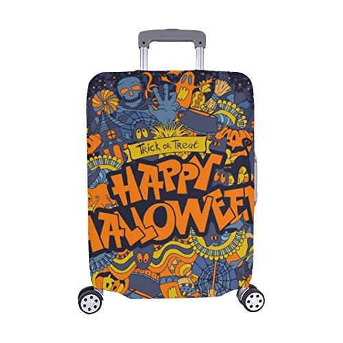 ((Nur abdecken) Happy Halloween Retro Stil Doodle Kreative Staubschutz Trolley Protector case Reisegepäck Beschützer Koffer Abdeckung 28,5 X 20,5 Zoll)