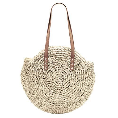 BTIHCEUOT Handgewebte handgemachte gewebte Runde Stroh gewebte Handtasche Sommer Strand Schulter Sling Tote Bag für Frauen(Beige) -