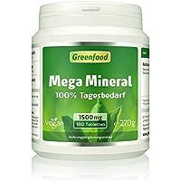 Mega Mineral, 1500 mg, 180 Tabletten, vegan - 100% Tagesbedarf Mineralstoffe & Spurenelemente, Ca und Mg im optimalen... preisvergleich bei billige-tabletten.eu