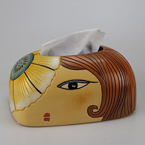 Papier-handtücher Schule (C&S CS Tisch Tissue Box einfache Keramik Papier Handtuch Box farbige Zeichnung Gesicht Muster schönes Design)