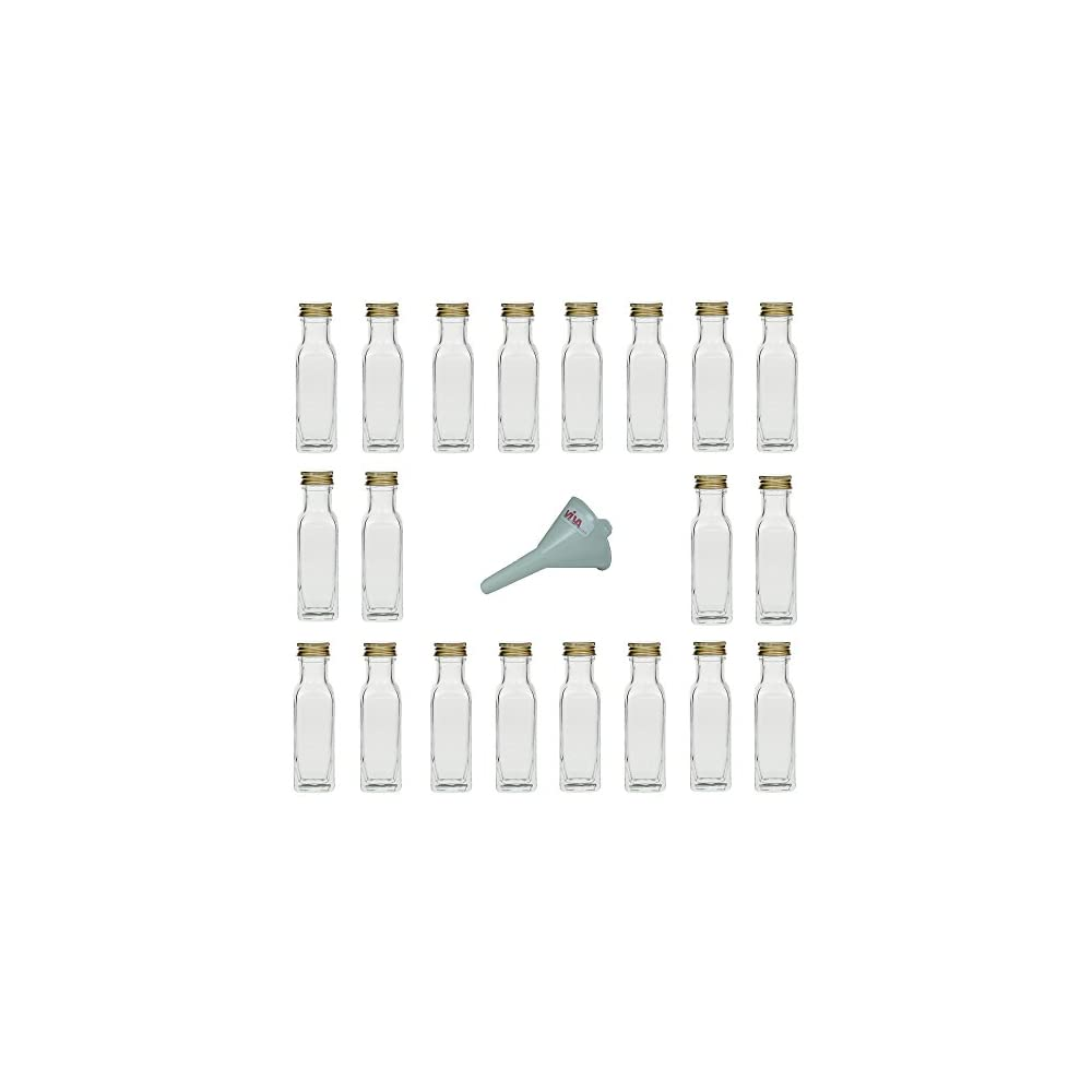 Viva Haushaltswaren 6 Glasflaschen Mit Schraubverschluss 250 Ml Zum Selbstbefllen Inkl Einem Weiem Einflltrichter 7cm