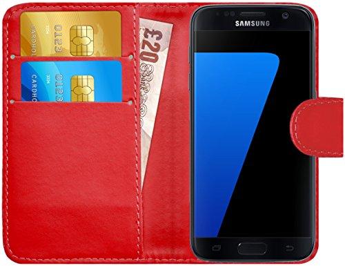 GizzmoHeaven Samsung Galaxy S7 Leder Hülle Schutzhülle Tasche mit Karte Halter Klappetui Flip Case Cover Etui Brieftasche für Samsung Galaxy S7 SM-G930F mit Displayschutzfolie und Stylus-Stift - Rot