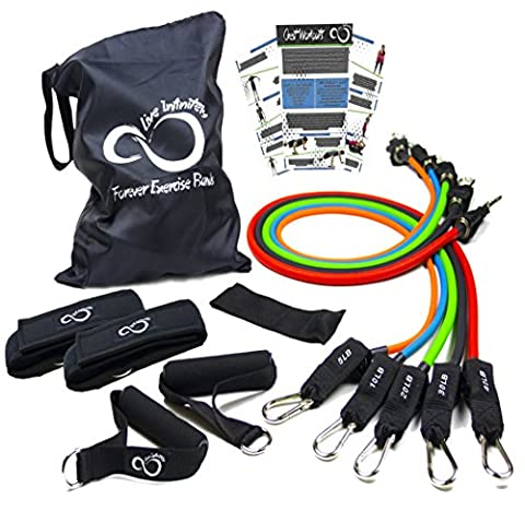 Exercise Resistance Band Set With Handles- Gym Quality 11 Piece Set Of Stackable Exercise Resistance Bands With Door Anchor, 2 Ankle Straps & Zip Top Bag- Includes Total Body Online Workout