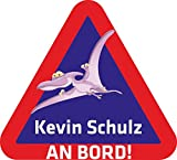 INDIGOS UG® Namensaufkleber / BABY AN BORD - o. Ihr Wunschname - Sticker / Autoaufkleber / Aufkleber - 038 - Pteranodon - 15x14 cm - für Kinder, Auto, KfZ, Heckscheibe - individuell bedruckbar