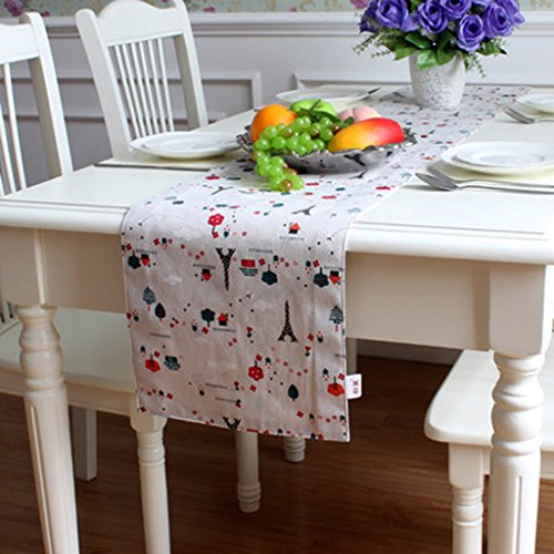 QiangZi Chemin De Table Coton Et Lin Angle Plat Pastoral Style Motif Floral Salon Cuisine Bureau De Mariage Partie De Décoration De La Maison Nappe De Table Nappe, 30 * 200 Cm ( Couleur : Style4 , taille : 30*210CM )