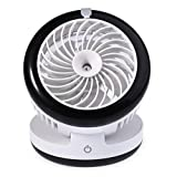 Mini Rechargeable Cooling Fan,Carryme Portable Handheld USB Misting Fan Multi Speeds Built-in 2000mAh Rechargeable Battery Mini Water Spray Hydrating Fan with Personal Cooling Air Conditioning Replenishment Mist Diffuser Humidifiers for Desk,Table,Summer,Beauty,Home,Office,Outdoor Travel,Bedside,Sleeping,Baby,Kids,Night Air Purifier(Round Black)