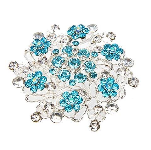 Elegant and Beautiful Big Rhinestone Crystal Brooch Silver Turquoise Round