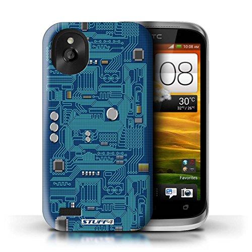 Kobalt® Imprimé Etui / Coque pour HTC Desire X / Vert conception / Série Circuit Board Bleu