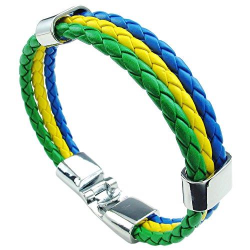 UM Schmuck Herren Damen Geflochtene Leder Armband Brasilien Flagge Armreif Grün, Gelb, Blau