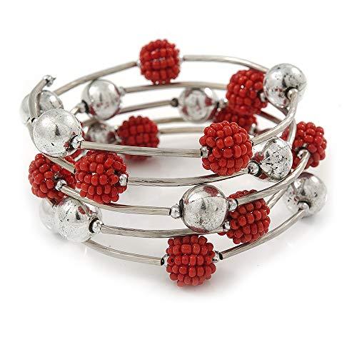 Dusty Rot Glas Bead, Silber Ton Ball Armband mehrsträngig-Medium