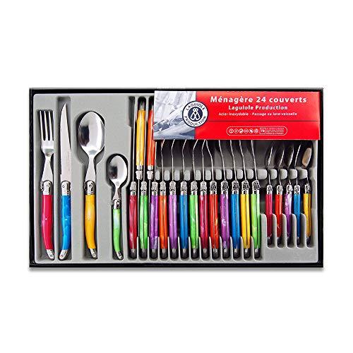 Laguiole Production 438580 Servizio di posate da 24 pezzi in acciaio inossidabile, multicolore