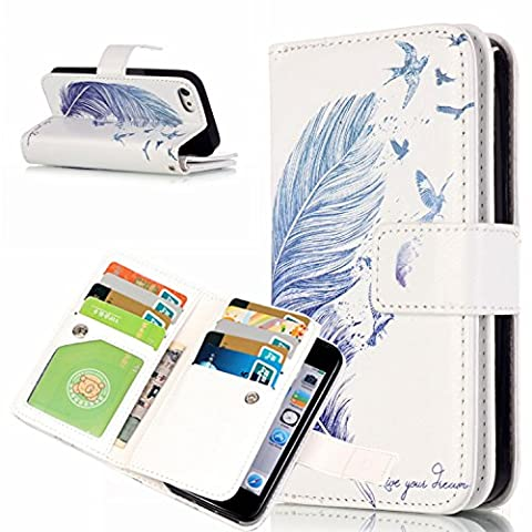 Etui iPhone 5S Blanc, Aeeque® Mode Pochette Porte Carte Flip