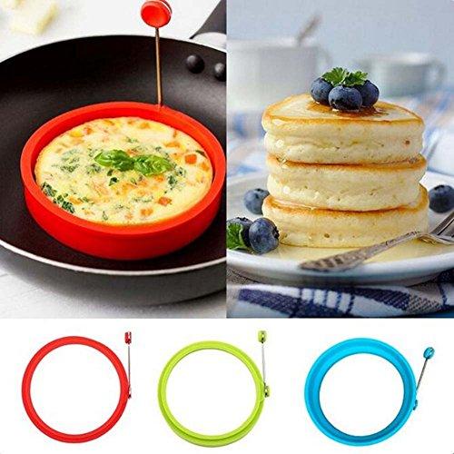 RENNICOCO Silikon Egg Inlay Pancake frühstücksbrote–Benedikt Eier, Omeletts und Mehr Aluminiumguss Form Ring Rund grün grün