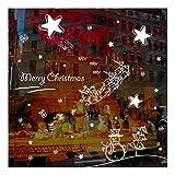 QTZJYLW Weihnachten Wand Sticker Weihnachten Starry Muster Frohe Weihnachten Dekoration Shop Fenster Glas Wand Aufkleber (45 × 60 cm)