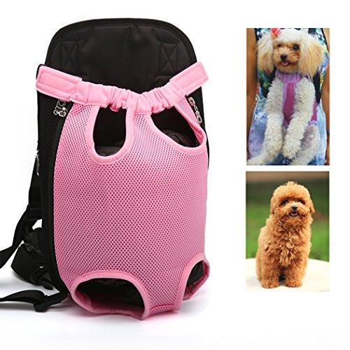Xiaoyu Pet Carrier hundetasche Träger Bag Haustier Transporttasche Brust Backpack Reise Tragbar Puppy Atmungsaktive Durable-Beine heraus Bag Haustier Hunde Katzen Tragetasche, rosa, XL -