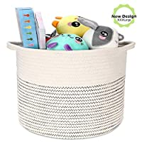 """Emooqi Large Cotton Rope Basket, Woven Storage Basket Cotton Thread Home Storage Containers for Baby Laundry Toy Nursery Bin, 11"""" x 11""""Storage Basket Organizer Modern Home Decor With Handle"""