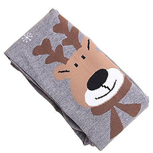 TININNA Winter Mädchen Kids Kinder Deer Muster Thermal Overknees Strumpfhose Socken grau M