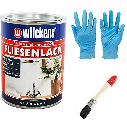 Fliesenlack seidenglänzend inkl. Pinsel zum Auftragen und 1 Paar Nitrilhandschuhe von E-Com24 (weiss seidenglänzend 750 ml)