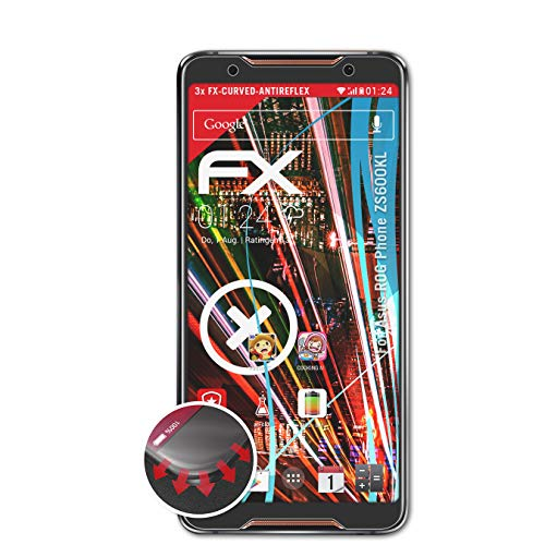 atFolix Schutzfolie passend für Asus ROG Phone ZS600KL Folie, entspiegelnde & Flexible FX Bildschirmschutzfolie (3X)