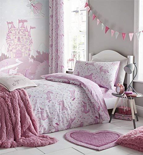Einhörner Blumen Blätter Weiß Rosa Baumwollmischung Einzelbett Bettbezug & Passendes Leintuch